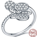 Factory Price 100% 925 Sterling Silver Cubic Zircon Charm Rings Women/Lady Geometric Design Crystal Jewelry Europe Street Style