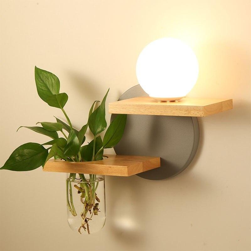 Creative Green Plant Pot Home Decor LED Wall Lamp Wooden E27 Socket AC 100 240V