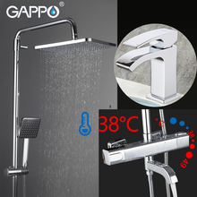 GAPPO Shower System bathroom thermostatic shower faucet wall-mounted bath mixer round head sets basin