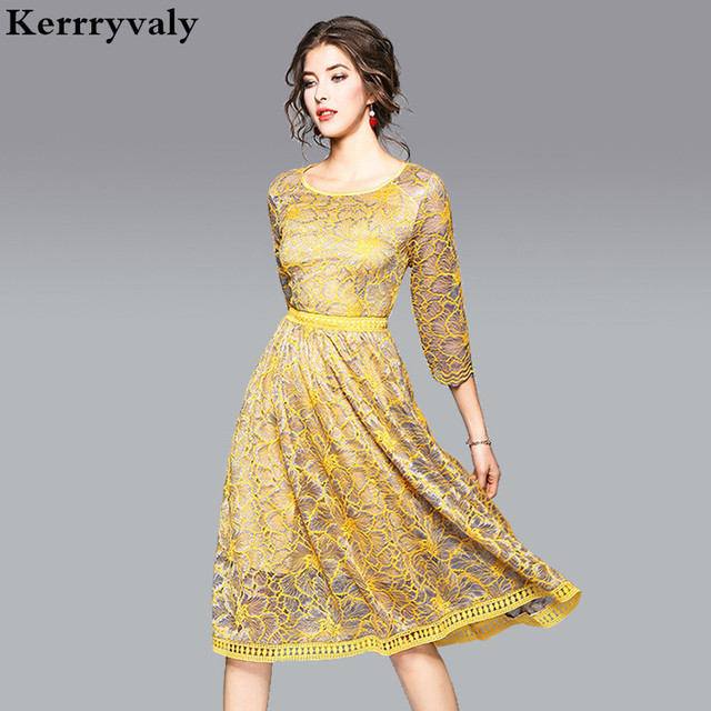 cf6c468b4e9 Spring Yellow Hook Flower Lace Dress Women Clothes 2019 Robe Hiver Elegant  Women Dresses Tunique Femme