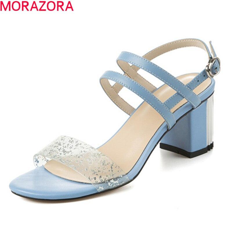 Morazora 2019 새로운 도착 여성 샌들 pvc + 정품 가죽 신발 버클 여름 하이힐 신발 숙녀 드레스 파티 신발-에서하이힐부터 신발 의  그룹 1