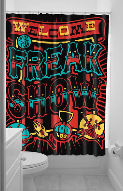 Freak Show Punk Circus Style Shower Curtain Bathroom Waterproof Mildewproof Polyester Fabric With 12 Hooks 180cm