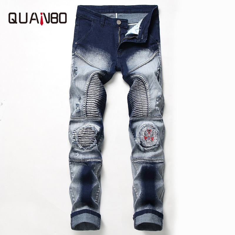 QAUNBO Brand Clothing Mens   Jeans   Nostalgia Moto Biker Hole   Jeans   Male Slim Fit Straight Denim Designer Badge Ripped   Jeans   N820