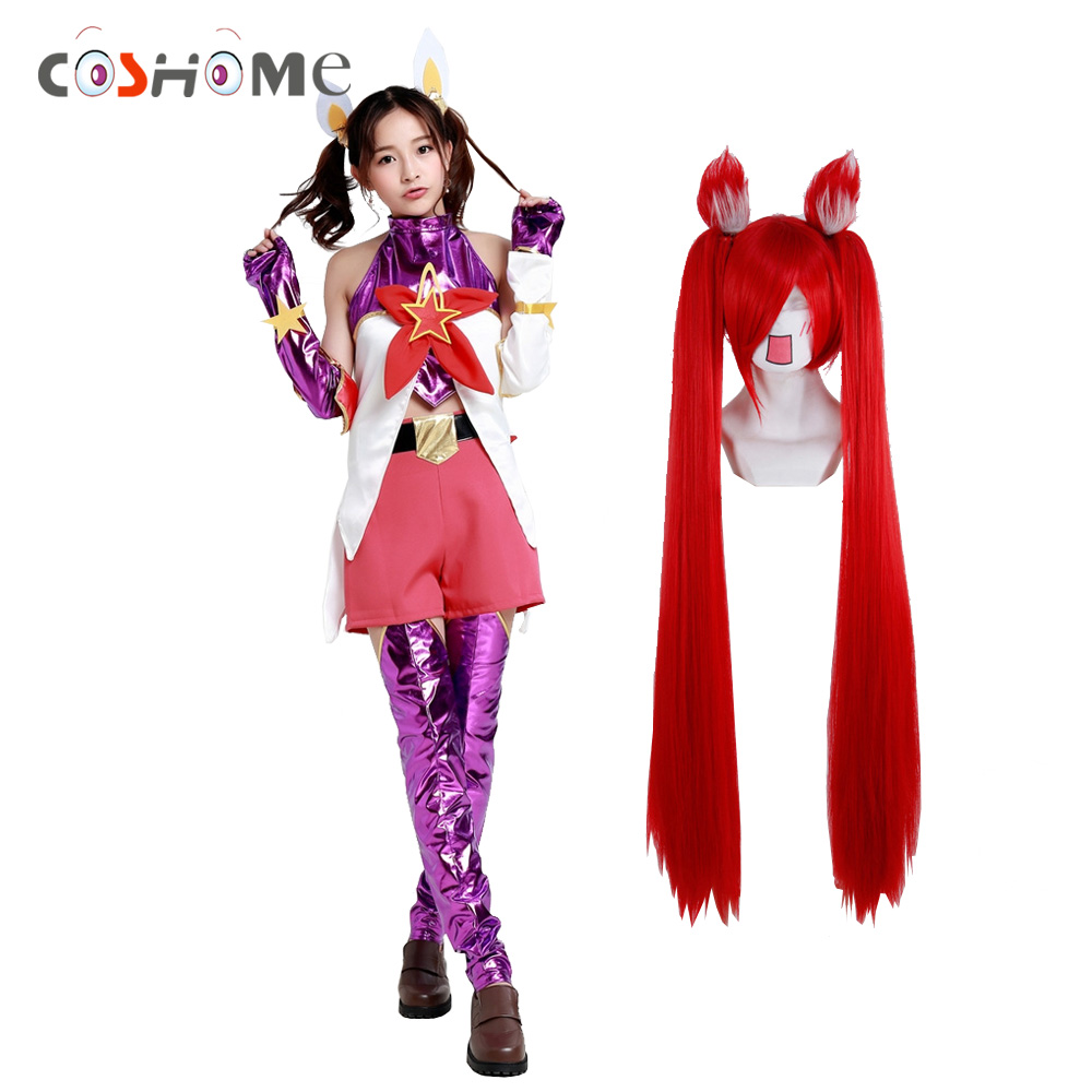 Coshome LOL Jinx Cosplay Costumes Red Wigs Women Magic Girl T+Belt Gloves+Socks+Shorts+Headdress 6pcs/Set