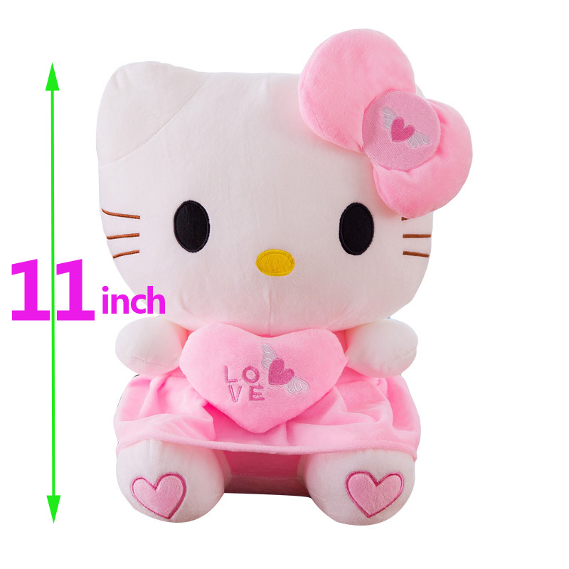 11 Inch Kawaii Cat Hello Kitty Plush Doll Stuffed Animals Toys Cushion With Heart For Kids Baby Children Party Birthday Gift