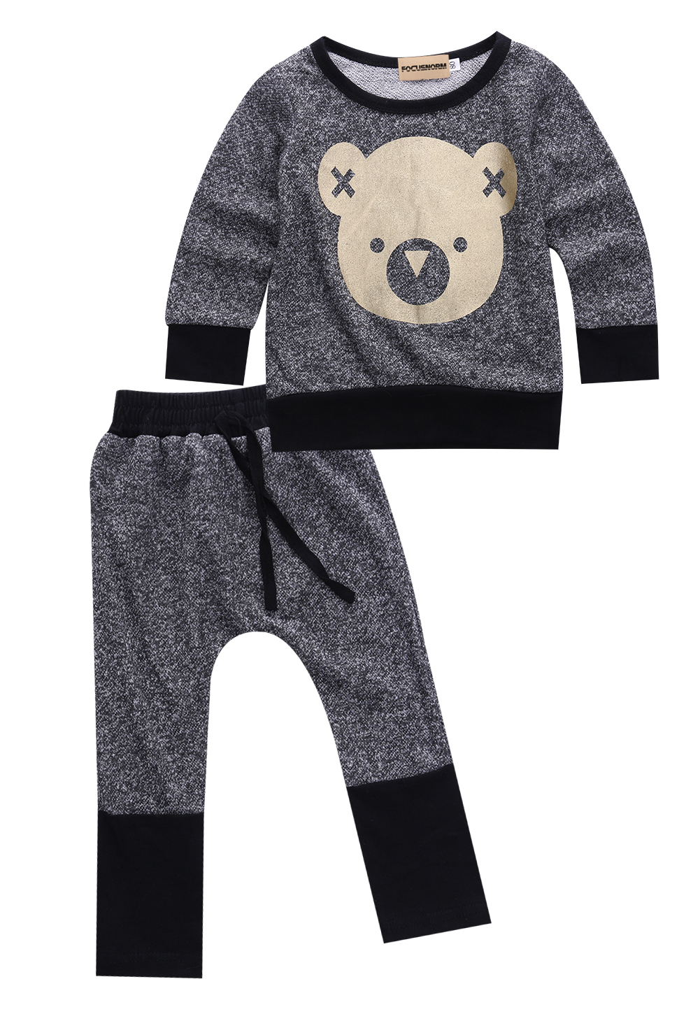 2pcs Toddler Infant Baby Boys Girls Long Sleeves Bear Printed Sweat Shirt +Pants Outfit Clothes Set Size 0-4