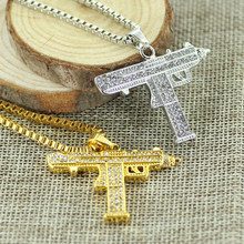 Fashion Gold Color Uzi Gun Pendant Necklace Men Alloy Full Rhinestone Bling Submachine Gun Necklaces For Women Men Hip Hop Gift(China)