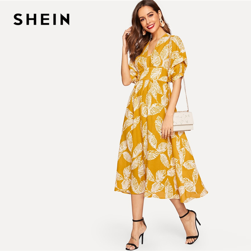 ce64b87ec78c59 SHEIN Modest Giallo Vita Larga Leaves Stampa Split Con Scollo A V Delle  Donne del Vestito Tropical