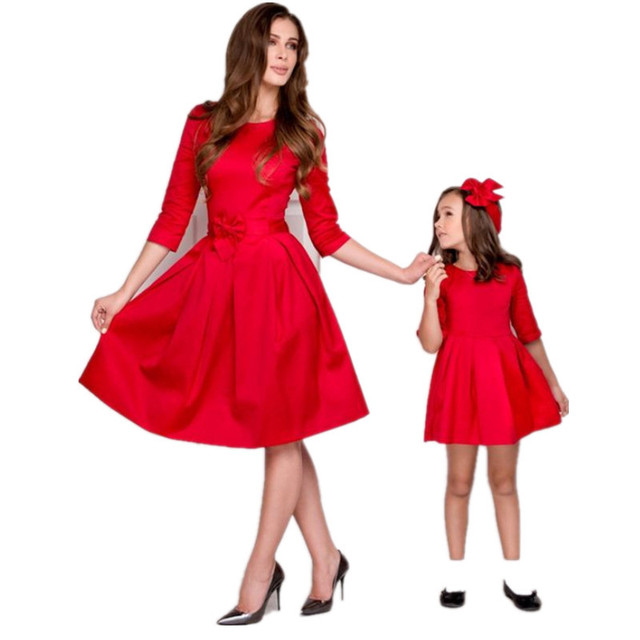 2018 New Christmas Family Match Outfits Mother Daughter Matching Dress  Autumn Mommy and Me Dresses Xmas - 2018 New Christmas Family Match Outfits Mother Daughter Matching