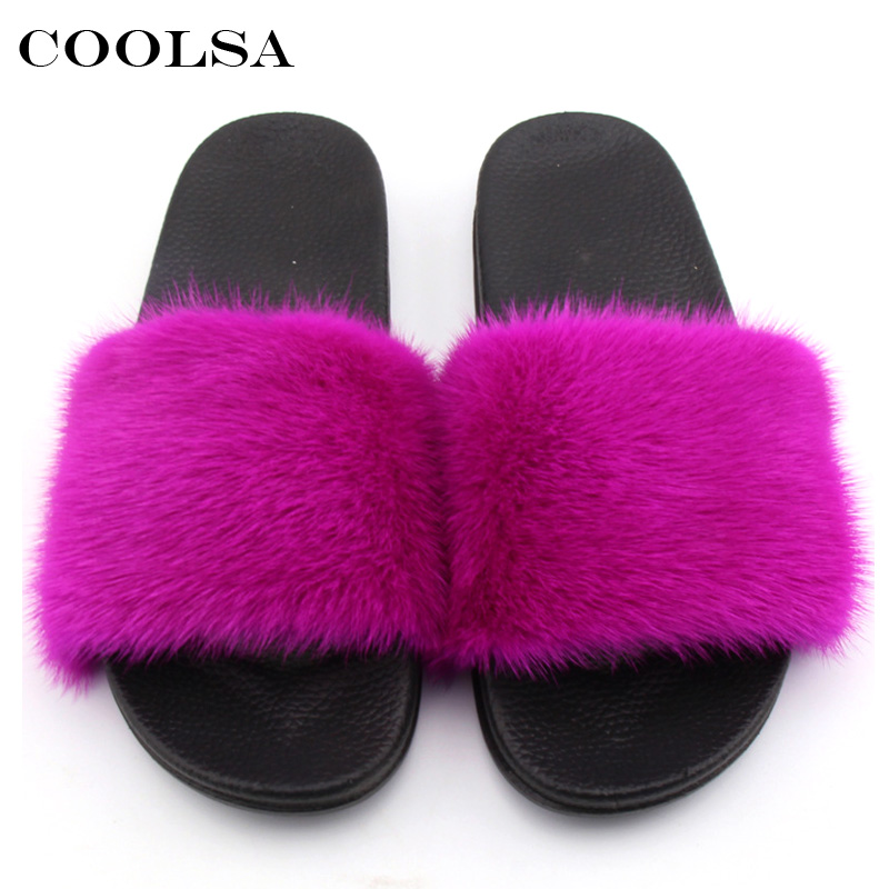 Coolsa Summer Women Mink Slippers Real Mink Fur Slides PVC Flat - Zapatos de mujer - foto 3