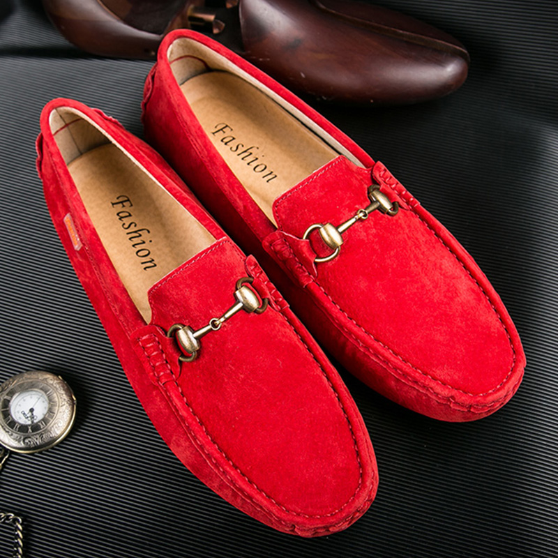 ZCDOMLER Fashion Men   Leather   Shoes Casual Genuine   Leather   Loafers Red Mocassin Homme Breathable   Suede   Driving Moccasins Shoes