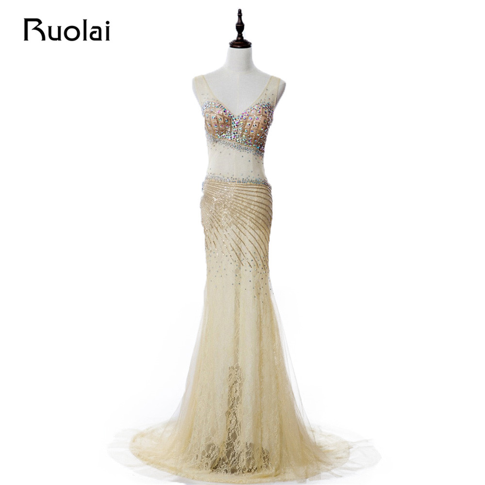 Real Photo Sexy Mermaid   Evening     Dresses   2019 V-Neck Sheer Tulle Crystal Stone Beaded Top Lace Prom   Dress   Vestido de Fiesta PD71