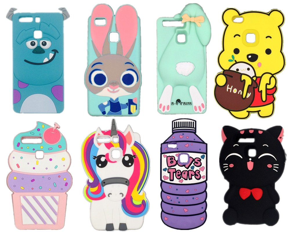 fb6dc8430 3D Cute Cartoon Cat Rainbow Unicorn ice cream Rabbit Bunny Back Cover For  Huawei