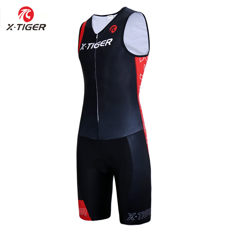 X Tiger Men Triathlon Cycling Jersey Sponge Pad Cycling Skinsuit Summer Quick dry Sleeveless Running Swimming