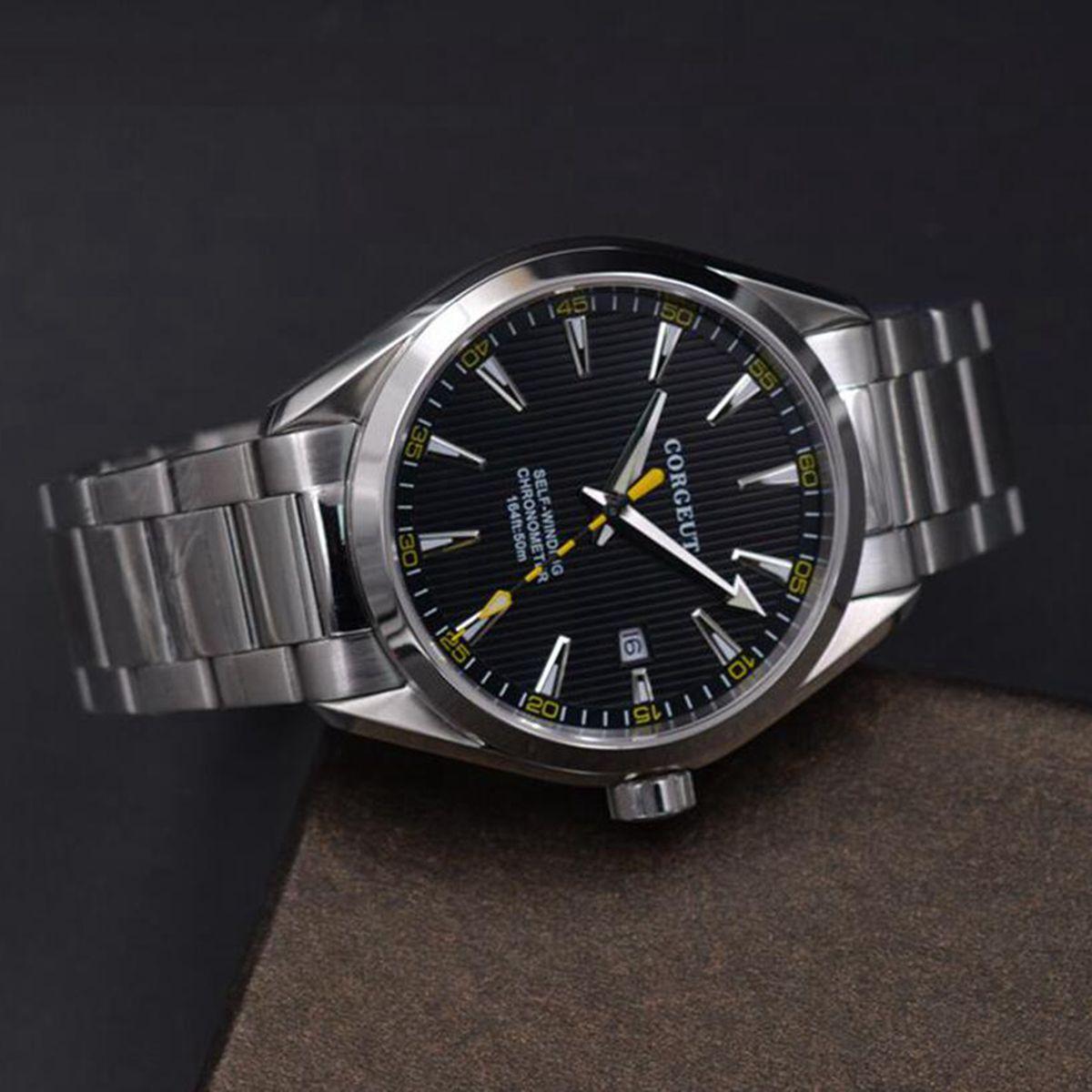 Corgeut 41mm mężczyźni zegar automatyczne ze stali nierdzewnej niebieski dial mechaniczny szkła szafirowego sukienka mężczyźni zegarki luksusowe top marka w Zegarki mechaniczne od Zegarki na  Grupa 3