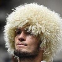 Bravalucia 2018 Fashion Style Real Lamb Fur Men Hats UFC for The Eagle Khabib Russian Bomber Winter Trapper Natural Fur Ushanka