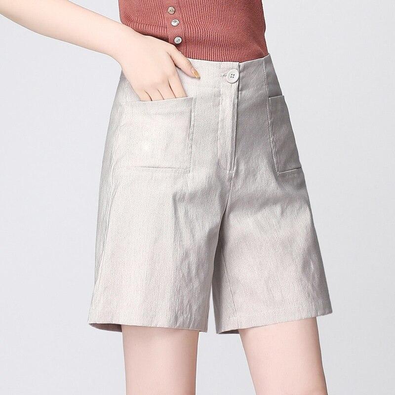 Short Pants Women Plus Sizes 55 Linen Mid Elastic Waist Pockets 3 Colors Simple Design Vintage
