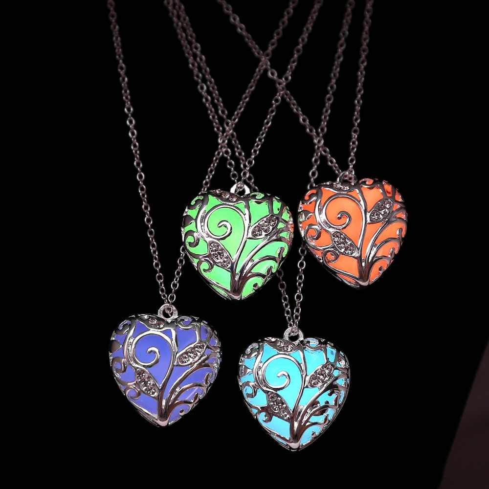 New Glow In The Dark necklace Chocker Locket Silver Hollow Glowing Stone Pendant Stainless Steel Chain Necklace For Women