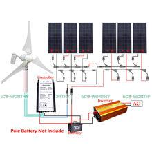 400W Wind Turbine 6pcs 160W Solar Panel 1500W Inverter Controller 24V Kit