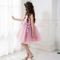 Purple Girl Party Dress Teenage 8 10 12 14Years Children Clothing Sleeveless Kids Wedding Costumes Floral