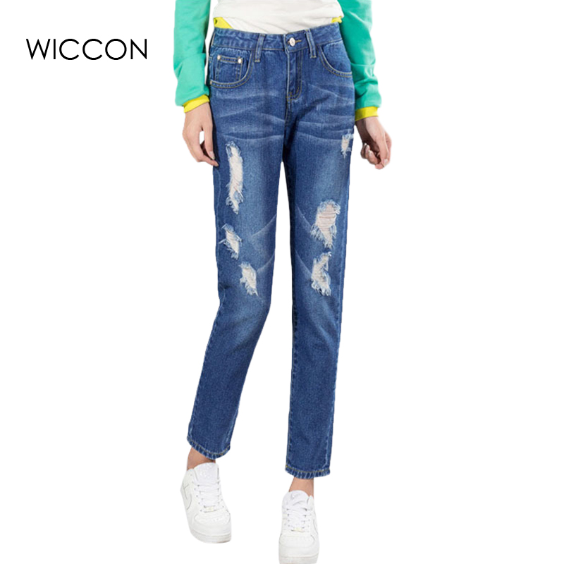 2017 Spring full length denim jeans pants ripped holes slim pencil jeans vintage style blue pants with hole fashion clothes jeans womens 2017 spring korean fashion vintage badge ripped blue denim pants trousers long pencil pants jeans femme b67
