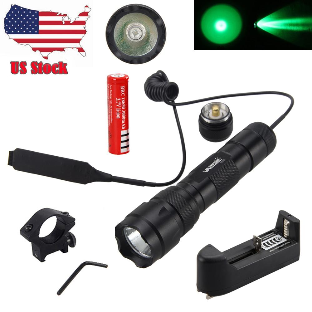 Green Q5 LED 5000LM 502B Tactical Flashlight Torch+Gun Mount Rail Picatinny Lamp