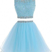 b7178f44b18 2 Piece Short Prom Party Dress Homecoming Dresses Juniors A Line Tulle  Appliques Beaded Plus Size