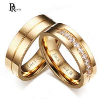 Bling CZ Stone Wedding Bands Rings for Women Men Gold Tone Stainless Steel Promise Love Anillo Alianca Bijoux Customized Engrave