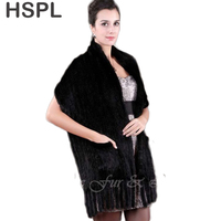 CDS070 2019 Hot Sale Black Fur Shawl,Knitted Genuine Mink Wedding fur shawl Women Fur Wrap Cape Winter Knitted mink fur scarf