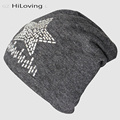 2016 Fashion Cuff Star Rhinestone Beanie Hats Big Long Knitting Hats For Women Autumn Winter Cotton Slouch Hip Hop Skull Cap