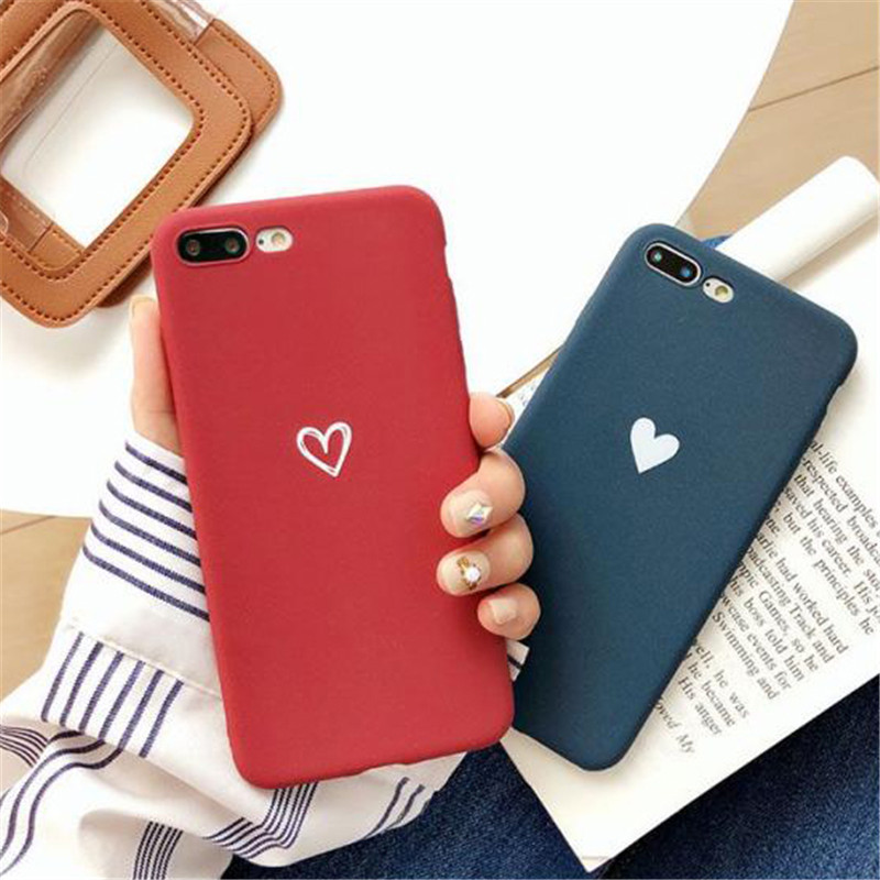 Fashion Scrub Plain Color Simple Heart Pattern Case For <font><b>Xiaomi</b></font> Redmi 5X 6A 6X 8SE <font><b>Lite</b></font> A1 A2 Note 4 4X 5 5A 6 6A Pro S2 Cover image