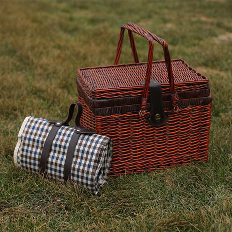 Vintage Wicker Picnic Basket Set For 4 Persons Cesta Picnic Canastas De Par  Willow Picnic Storage Baskets With 4 Sets Dinnerware In Storage Baskets  From ...