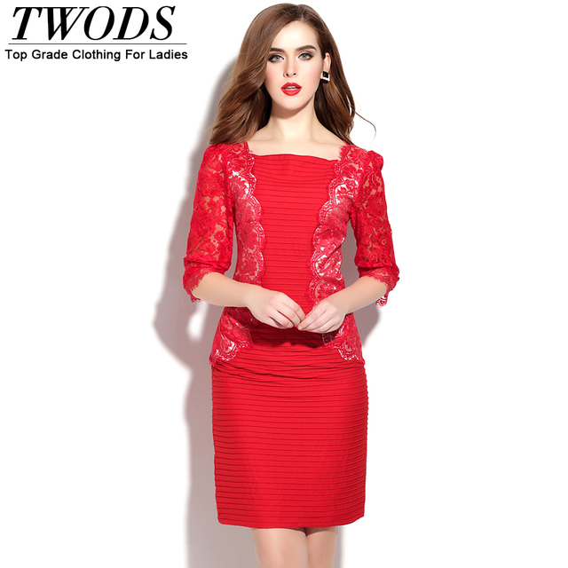 2b256cb8c06 Twods Women Solid Red Office Dress Elegant Lace Patch Half Sleeve Short  Mini Summer Dresses Sexy Clue Wear Big Size XXL