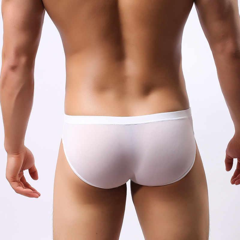 Roupa interior dos homens novos de cabeça U convexo bolso ultra-fina e transparente dos homens de seda gelo cuecas garfo cintura baixa masculino calcinha sexy shorts