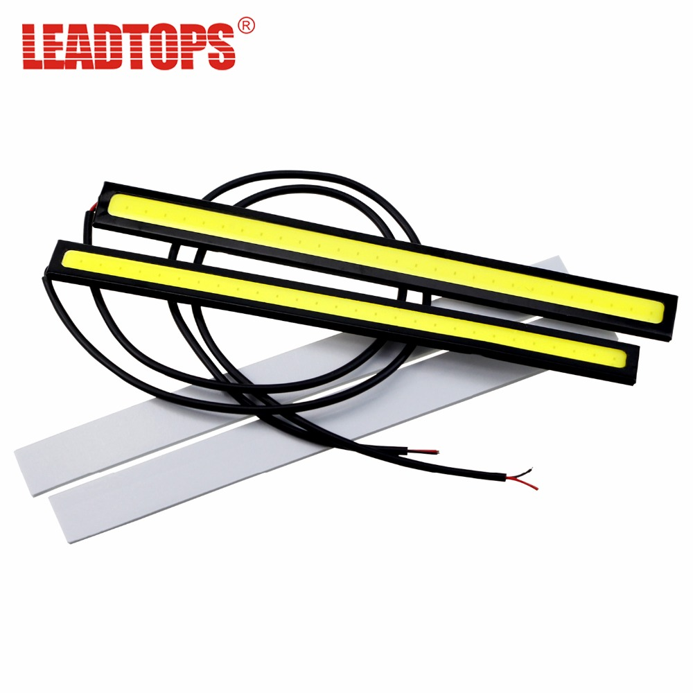 2piece 14cm 100% Waterproof Ultra-thin COB Chip LED Daytime Running Light LED DIY DRL Car Fog Lights Day Running for Auto CJ