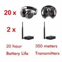 500m 3 channel wireless silent disco headphones 20 foldable headphones + 2 Transmitters