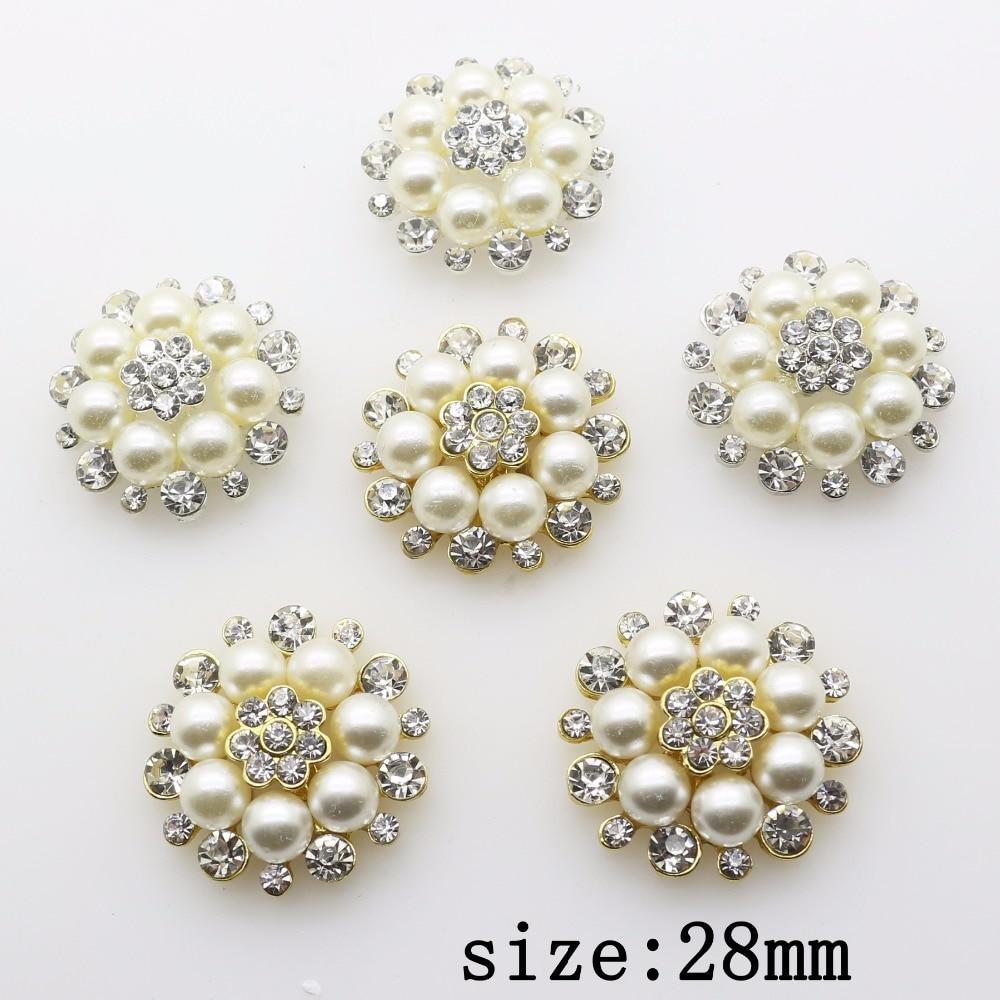 Fashion Hot 10Pcs 28mm Round Alloy Diy Jewelry Accessories Flat Back Imitation Pearls Rhinestone Base Wholesale Handmade Fitting