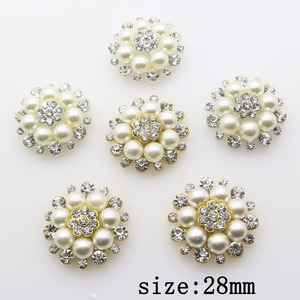 Fashion Hot 10Pcs 28mm Round alloy Diy jewelry Accessories Flat Back Imitation pearls Rhinestone Base Wholesale Handmade Fitting