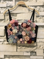 Autumn Winter New Flower Coloured Short Bustier Crop Tops Soft Wrapped  Tube Tops Strapless Tops  Crop Corset D242