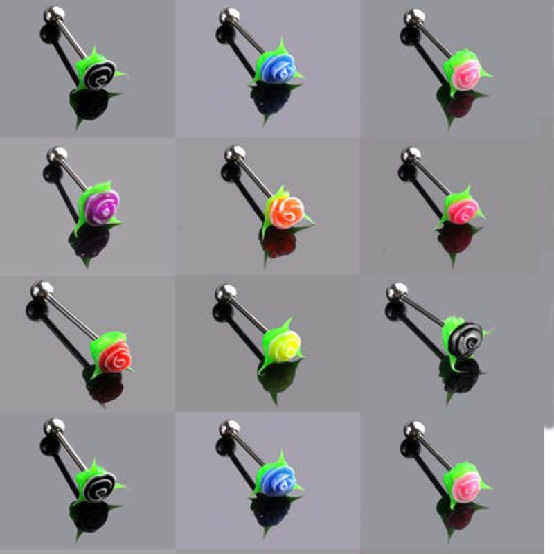 PINKSEE Mixed10pcs Wholesale Silicone Rose Flower Tongue Bars tounge barbell Body Jewelry New