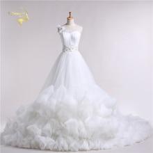 Jeanne Love 2016 New Design Dress Cloud Luxury Princess Long Train Robe De Mariage Bridal Gowns A Line Wedding Dresses JLOV11039