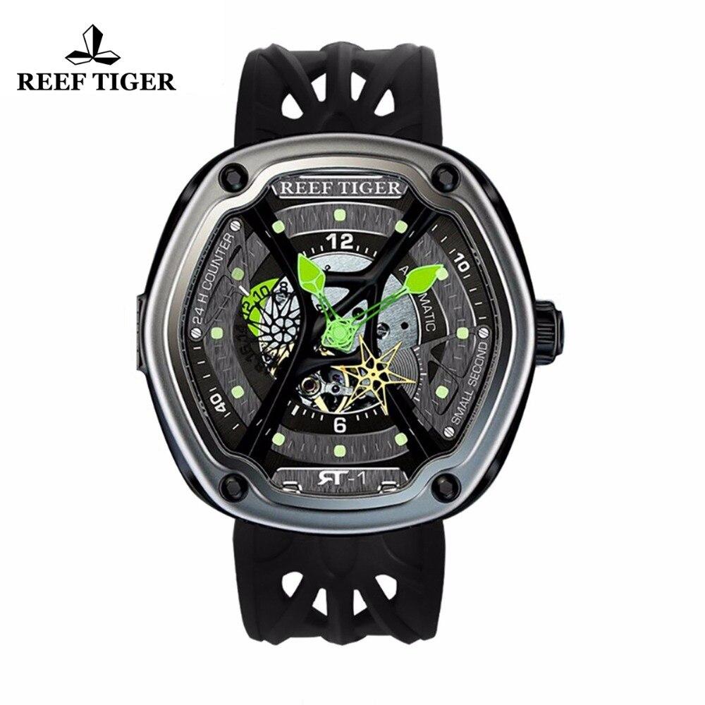 Reef Tiger/RT роскошные погружения спортивные часы светящийся циферблат нейлон/кожа/резиновый ремешок автоматический творческий дизайн часы ...