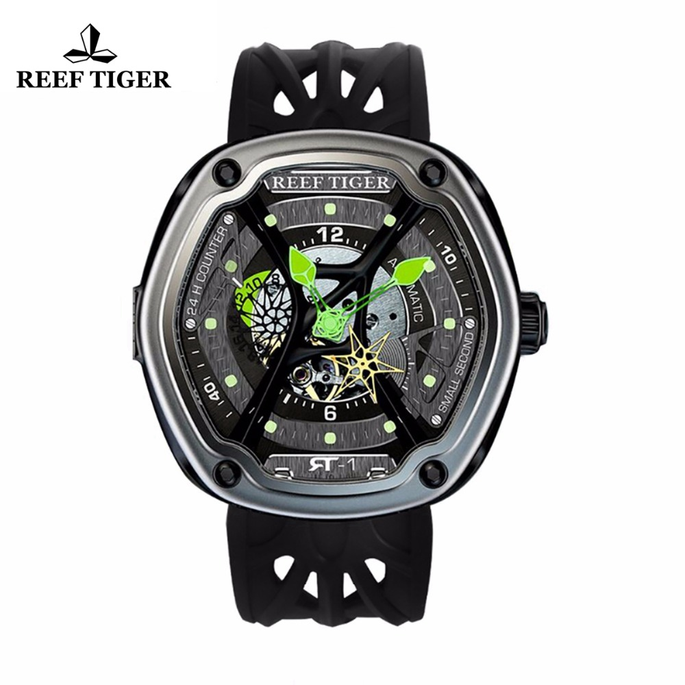 Reef Tiger / RT Lyx Dyk Sport Watch Luminous Dial Nylon / Läder / Gummi Rem Automatiskt Creative Design Watch RGA90S7