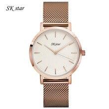 Mode simple élégant De Luxe marque SKstar Montres hommes Femmes En Acier Inoxydable Maille bracelet band Quartz-montre mince Cadran Horloge homme