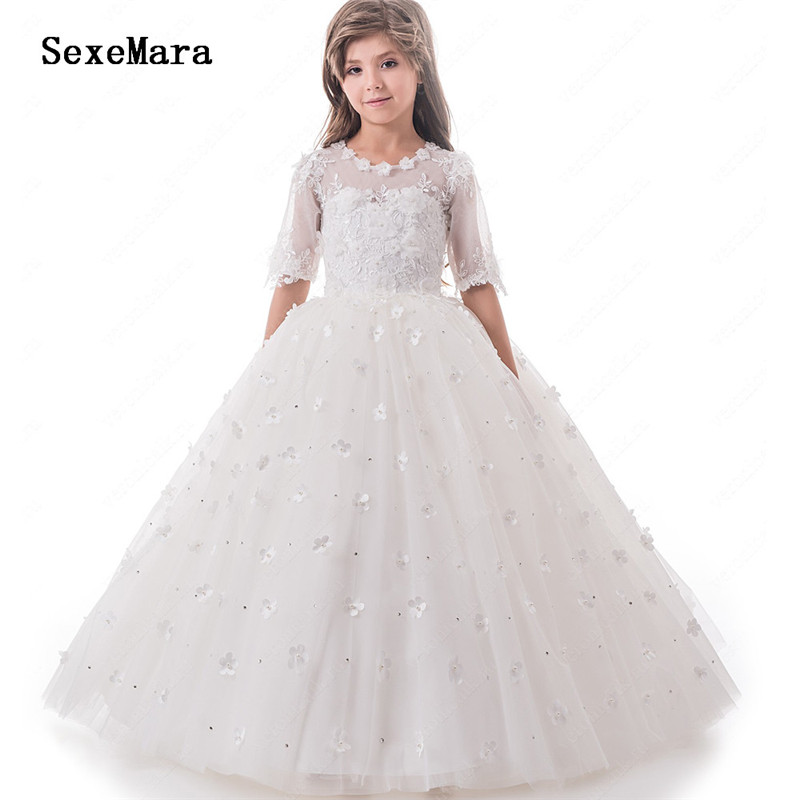White Lace Appliques Ball Gown   Flower     Girls     Dresses   for Wedding Party Half Sleeve O Neck   Girls   Prom   Dress   First Communion Gown