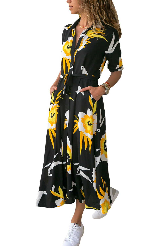 Fashion Women Long Sleeve Button Shirt Long Dress 2018 New Autumn Winter Casual Loose Print Split Maxi Dresses Vestido