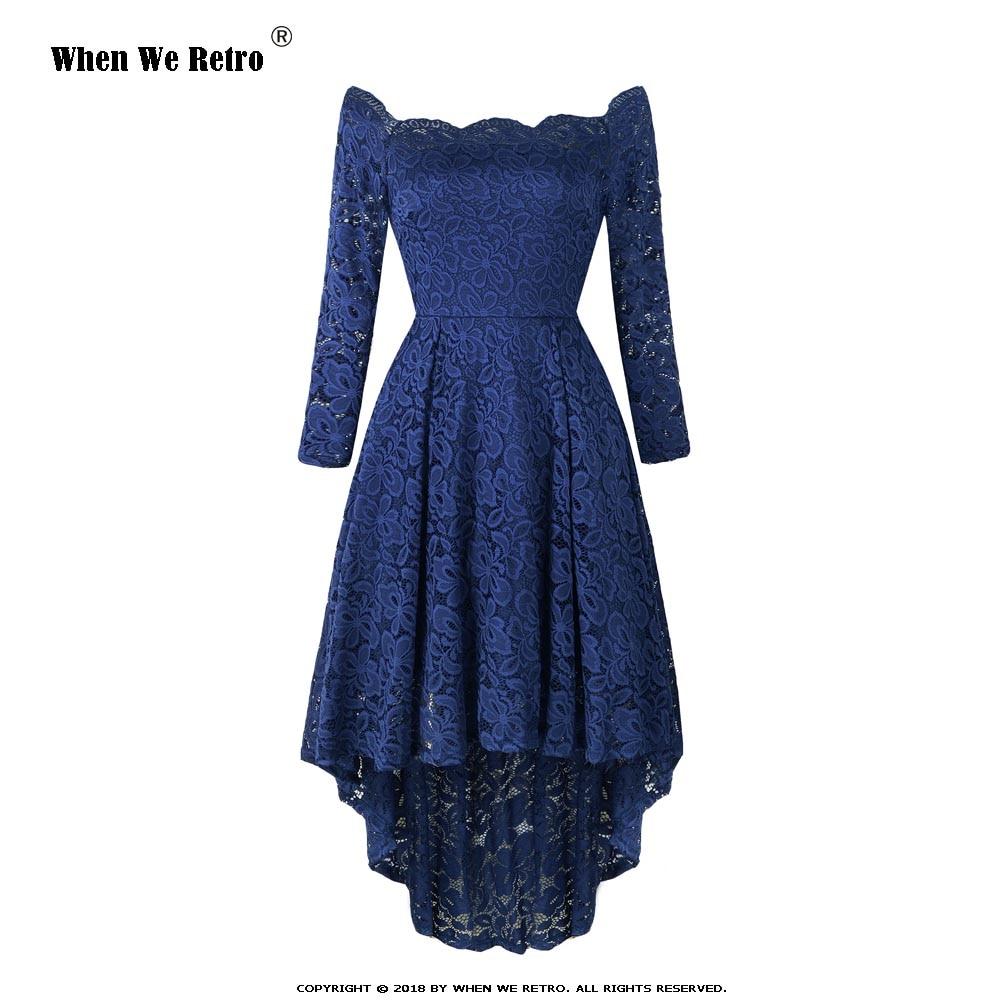 Quand nous rétro longue dentelle robe 2019 printemps nouveau à manches longues élégant partie Sexy asymétrique Midi noir violet rouge robe AY8108