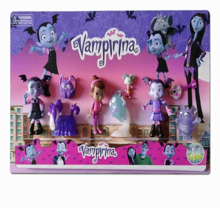 9pcs/lot Junior Vampirina The Vamp Batwoman Girl Action Figures Toy Doll For Kids Baby gifts Free shipping