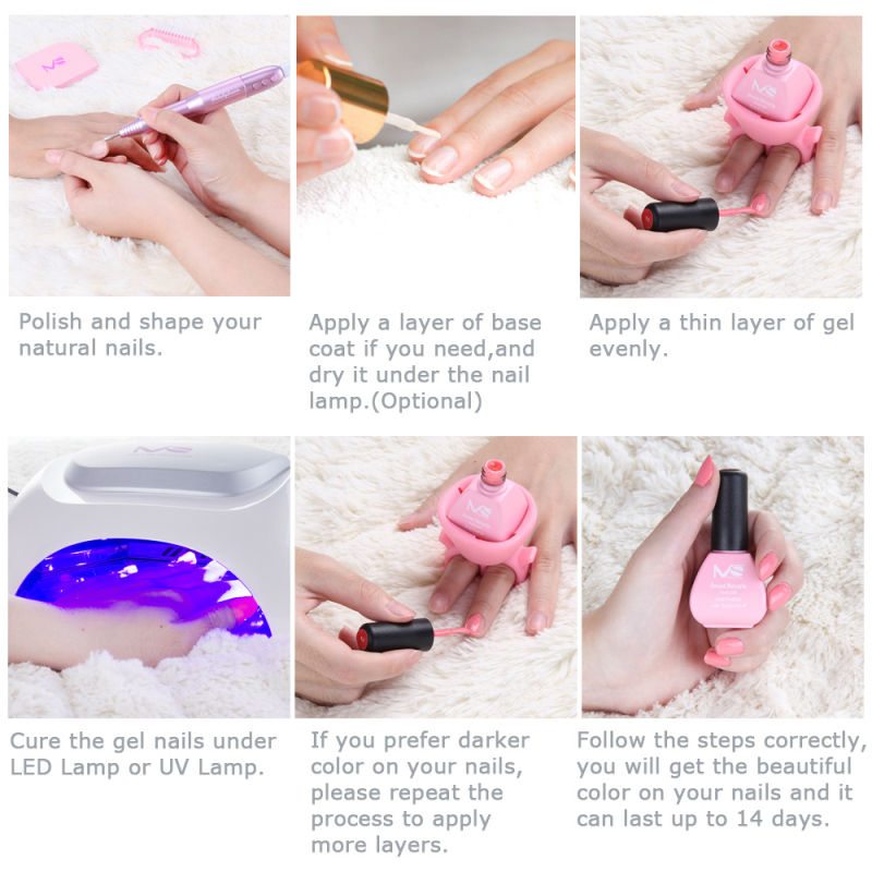 MelodySusie 6pcs/lot Fashion Macaron UV LED Gel Nail Gel Polish ...