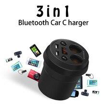 Etmakit чашки автомобиль Зарядное устройство Многофункциональный Дисплей Напряжение 3.1A 2 USB Автомобильное зарядное устройство cigrarette легче сплиттер для смартфонов GPS DVR